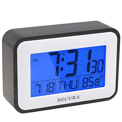 Secura Digital Alarm Clock Battery Operated with Snooze, Blue LED Backlight, Temperature Display for Bedrooms, Bedside, Desk, Shelf(Black)