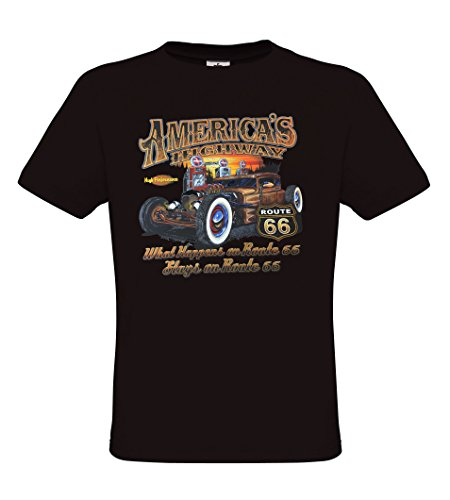 Ethno Designs - Americas Highway 66 - Hot Rod T-Shirt pour Hommes - Old School Rockabilly Vintage Retro Style - regular fit, noir, taille XXXL