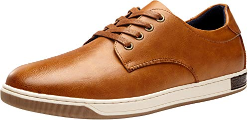 JOUSEN Men's Fashion Sneakers 4 Eyelets Brown Leisure Casual Shoes for Men (A81Q01 Yellow Brown 10.5)