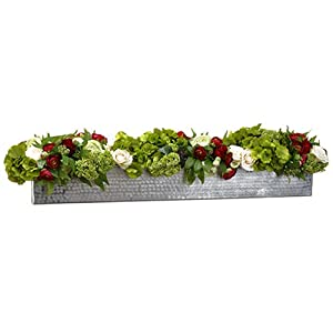9″ Hx41 W Silk Rose, Ranunculus & Sedum Flower Arrangement w/Pot -Green/Red