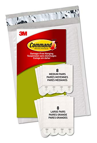 Command Picture Hanging Strips, 16 Pairs: 8-Medium, 8-Large Pairs, Easy to Open Packaging