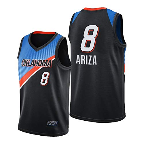 QJV Ariza Basketball-Trikots für Männer, OKC Swingman Herren Jersey 2020-21 Thunder Ariza Black City Jersey (S-XXL) M