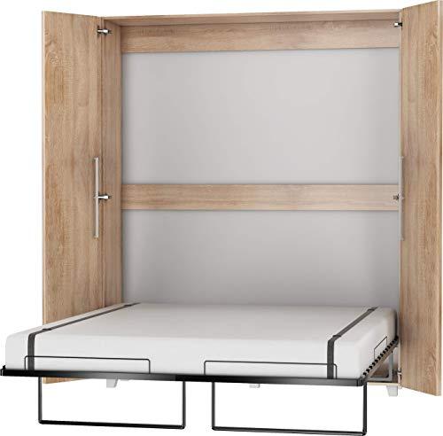 FurnitureByJDM Schrankbett Vertikal, Wandklappbett, Bettschrank, Wandbett, Schrank mit integriertem Klappbett, Funktionsbett - TEDDY - (Eiche Sonoma, 160 x 200 cm)