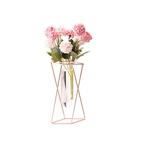 REUJKK Metal Flower Stand With Glass Flower Vase For Wedding Anniversary Ceremony Party Birthday Event Aisle Home Decoration