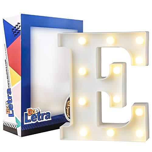 DON LETRA Letras Luminosas Decorativas con Luces LED, Letras del Alfabeto A-Z, Altura de 22cm, Color Blanco - Letra E