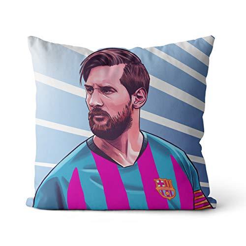 Cojín de sofá Leo Messi de baloncesto de gran jugador, impresión para silla, cojín decorativo de algodón y lino, cuadrado, OR1751, 35 x 35 cm