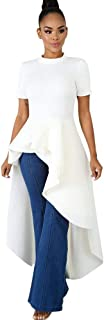 OLUOLIN Womens High Low Maxi Dresses - Casual Short Sleeve Ruffle Tunic Shirt Dress