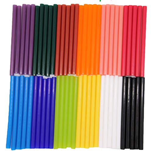 Barras de Pegamento Termofusible,12 colores 60PCS Mini Adhesivos Coloreados del Arma del Pegamento para DIY Art Craft, reparación general del hogar, ornamento de vacaciones (7 x 100 mm)
