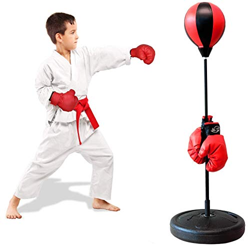 ShaggyDogz AuLinx Punching Bag, Boxing Bag for Kids Boxing Reflex Ball with Stand, Boxing Gloves Included Height Adjustable - Great Exercise & Fun Activity for Kids