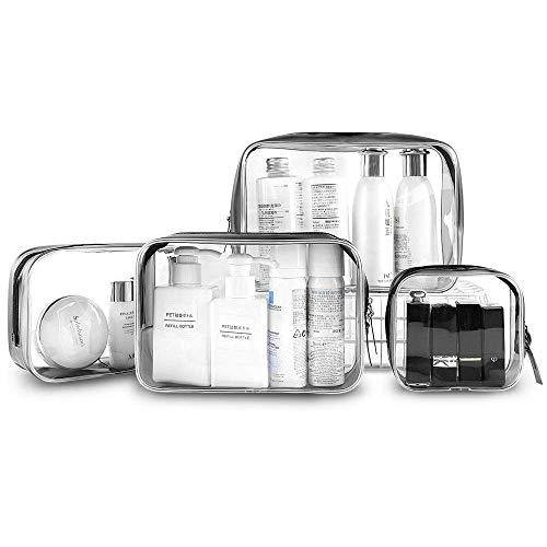 4 Stuks Doorzichtige Make up tas, PVC Make uptas, Toilettas Organizer Case, Waterdichte Toilettassen met Ritssluiting Draagbaar Make up Draagtasje voor op reis Zaken Vakantie Badkamer Organiseren
