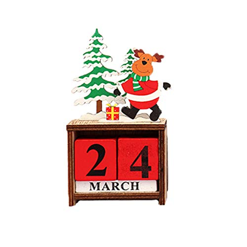 Iusun Tabletop Christmas Decoration Wooden Calendar Creative Supplies Gifts Bedroom Desk Candle Holder Ornament Bonsai for Home Office (B)