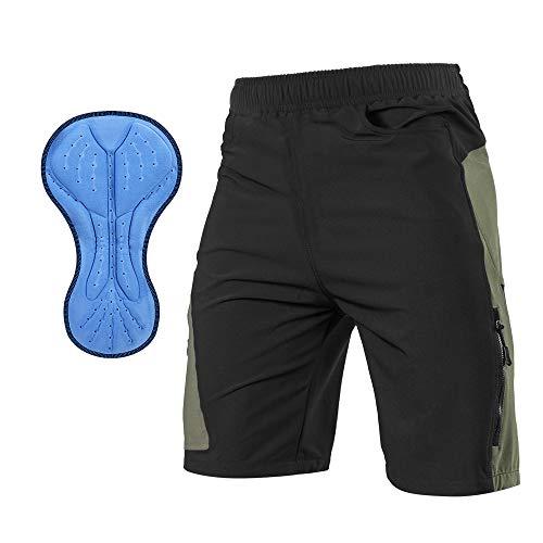 TOMSHOO Pantalones Cortos de MTB, Pantalones Cortos de Ciclismo para Hombre con Acolchados en 3D y 4 Bolsillos para Deporte al Aire Libre y Ciclismo (Negro, M)