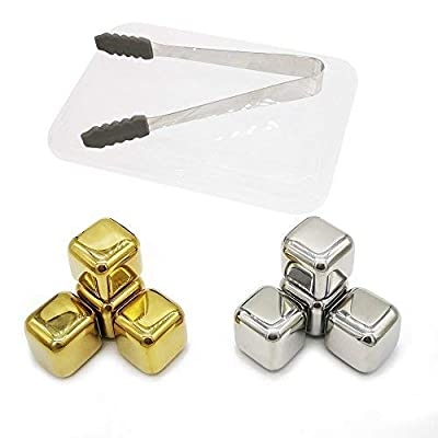 Food Grade Stainless Steel Whiskey Stones,Multi Color Ice Cubes,Bourbon Chilling Cubes, Cocktail Rocks Pack of 8 Whiskey Gift Set(4 Golden + 4 Silver Cubes) with Freezing Storage Tray and Tong