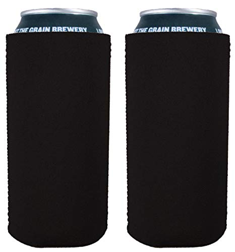 Blank Neoprene Collapsible 16 oz. Can Coolie (2 Pack, Black)