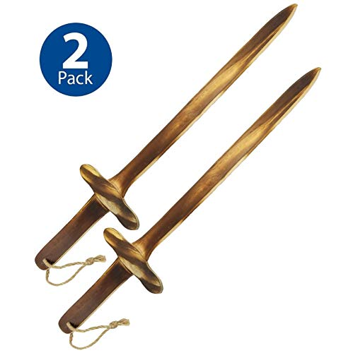 Adventure Awaits! - 2-Pack - Burnt Wooden Toy Sword - Handmade - Lightweight Wood Toy Swords Set for Outdoor Play