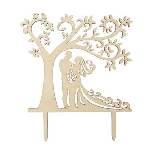 fivekim Jackyee Tortenstecker aus Holz mit Baum-Motiv, personalisierbar, rustikal, für Hochzeitstorten und Hochzeitstorten