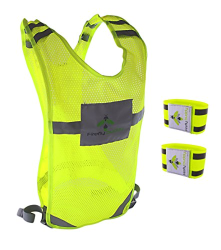 Reflective vest for Running Road Cycling Dog Walking High Visibility Bike Reflector Adjustable Safety Gear w Bands and Pocket for Men Women S M