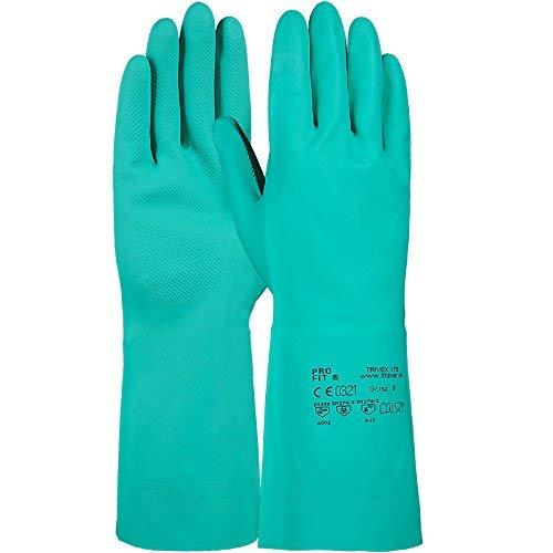 PRO FIT 12 Paar Trivex Nitril Chemikalienschutzhandschuh 33 cm (12, grün)