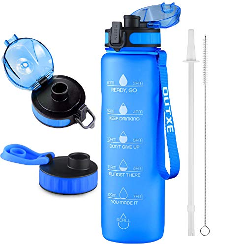 OUTXE 36oz Water Bottle with Motivational Time Marker & 2 Lids & Straw & Removable Fruit Strainer Tritan BPA-Free Non-Toxic Great for Fitness Gym Workout