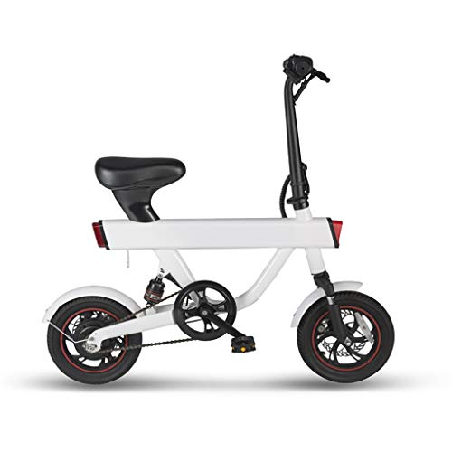 XIAOXIAO Bicicleta eléctrica, for Hombres y Mujeres, Ligero Plegable, Evitar el atasco, la batería Super Life, Delantera y Trasera de Doble absorción de Choque (Color : White)