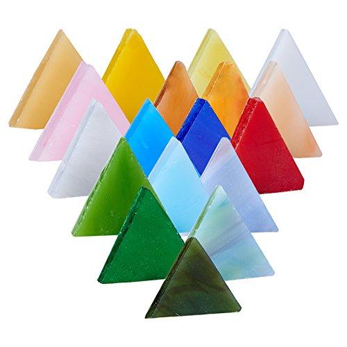 PandaHall Elite - 1 caja de 350-360 mosaicos de cristal para decoración artesanal, suministro, triángulo, color mixto, 15 x 3 mm