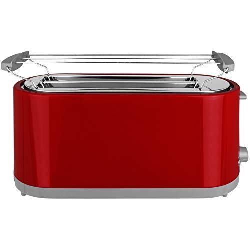 Toaster 750W oder 1400W mit Langschlitz mit Größen- und Farbwahl Sandwichmaker 2 oder 4 Scheiben Langschlitztoaster Sandwich Maker (Rot, 4-Scheiben)