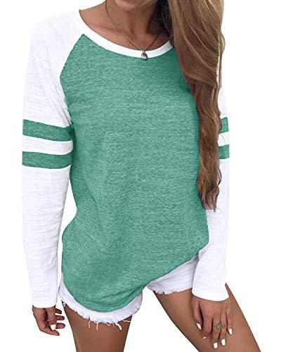YOINS Pulli Damen Langarmshirt Sweatshirt mit Streifen Rundhals Ausschnitt Oversize Hemd, Streifen-hellgrün, Gr.- XXL/ 48