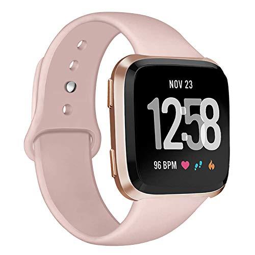 Deilin Armband für Fitbit Versa/Fitbit Versa Lite für Damen und Herren, Silikon Sport Armband Weiches Verstellbares Armband für Fit bit Versa Smartwatch (Sand Rosa, S)