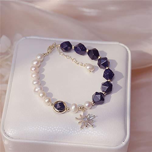 PPuujia Pulsera vintage de lujo azul estrellado piedra natural circón estrella colgante pulsera de la suerte para mujer exquisita pulsera de perlas naturales (color metálico: azul)