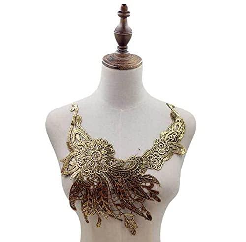 NUEVO algodón dorado bordado flor encaje collar tela coser apliques DIY cinta recortar escote parches artesanales decoración de boda-oro 5