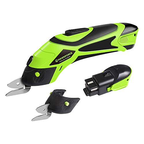 Electric Scissor Hawkforce 2 Rechargeable Batteries Power Cordless Scissors 4V Li-Ion Box Cutter Shears Cutting Tool with 2 PCS Cutting Blades and 2 PCS Batteries for Cutting Fabric, Leather and Carpe