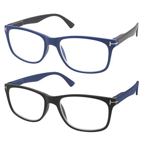 TBOC Gafas de Lectura Presbicia Vista Cansada - [Pack 2 Unidades] Graduadas +4.00 Dioptrías Montura de Pasta Azul + Negro Mate de Diseño Moda Hombre Mujer Unisex Lentes de Aumento Leer Ver de