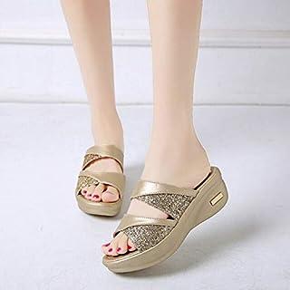 شباشب - شبشب نسائي ربيعي بلينغ أحذية نسائية من جلد البولي يوريثين بكعب مسطح للنساء صنادل كاجوال كاجوال بنعل مريح (ذهبي 42)