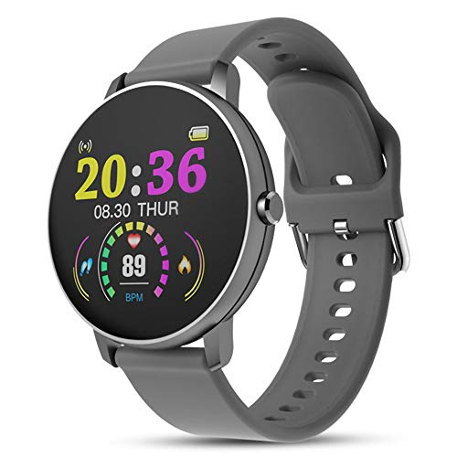 UKAP P8Y - Reloj inteligente con Bluetooth, impermeable, con monitor de presión arterial, color plateado