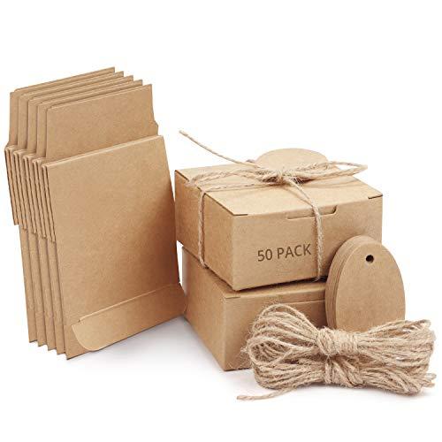 Belle Vous Cajas de Cartón Kraft Marrón (Pack de 50) Cuadradas con Tapa, Cuerda de Cáñamo y Etiqueta – 7,5 cm x 7,5cm x 3,5 cm - Caja Kraft Pequeña para Bodas y Regalos de Fiesta