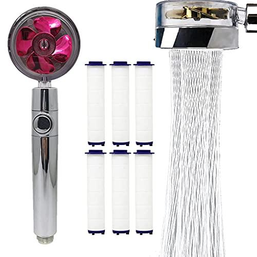 360 Power Shower Head, Turbo Spa Shower Head, 360 Power Duschkopf, Turbo Spa Duschkopf (rot + 6pcs Baumwolle)