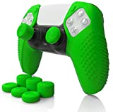 SensePro Studded Grip Skin Set for Playstation 5 Controller (DualSense) by Foamy Lizard - PS5 Dock Compatible Silicone Skin w/Flat Anti-Slip Studs Plus Set of 8 QSX-Elite Raised Thumb Grips (Green)