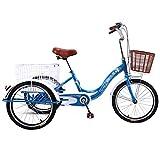 Jlxl Menschliche Dreiräder Für Fahrräder 3-Rad Für Erwachsene Fahrrad Trike Mit Korb Seniorenrad...