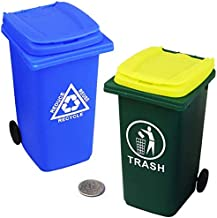 Mini Garbage Trash Can Pencil Holder and Tiny Outdoor Recycling Bin Pen Cup Storage Desk Organizer for Office Supplies Gre...
