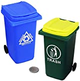 Mini Garbage Trash Can Pencil Holder and Tiny Outdoor Recycling Bin Pen Cup Storage Desk Organizer for Office Supplies Green Blue 2-Pack