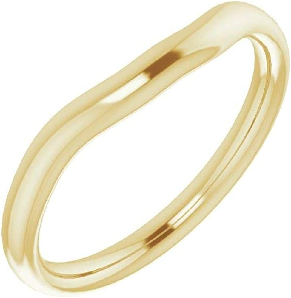 Solid 18K Yellow Gold Curved Notched Wedding Band for 4.5x4.5mm Square Ring Guard Enhancer - Size 7
