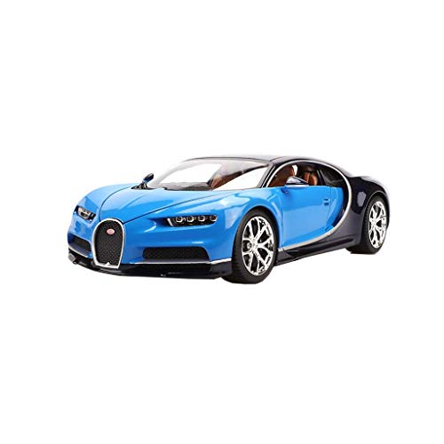 min min Compatible con Bugatti Aleación Deportes Modelo Modelo Simulación Coche Decoración Inicio Juguetes para niños Coleccionables de Adultos Modelo 1:18 Azul