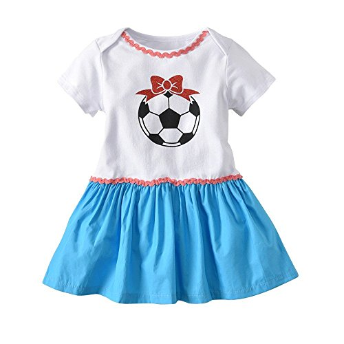 QTONGZHUANG Kinderkleidung Mädchen Rock WM Fußball Baby Mädchen Kurzarm Dreieck Haber Jumpsuit Kletterkleid, 95 cm