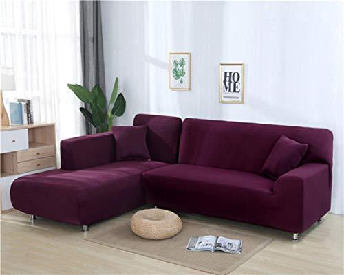 XCVBSofa Cover Sofa Stretch Couch Cover Kussenovertrekken voor Woonkamer Effen Kleur Elastische Sofa Cover voor L-vormige Hoekbank Chaise Longue, Bean Red