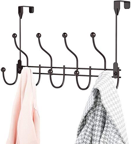 HapiRm Kleiderhaken Tür,Türgarderobe mit 9 Haken, Hakenleiste Ohne Bohren, Garderobenhaken Vintage Türhaken für Küche, Badezimmer, Flur und Schlafzimmer,Bronze