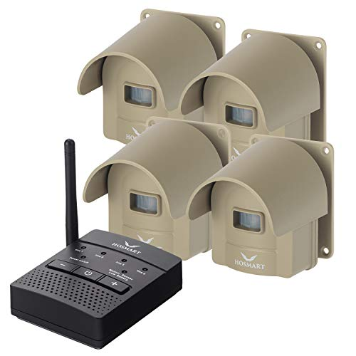 Hosmart Rechargable 1/2 Mile Long Range Wireless Driveway Alarm System and Top...