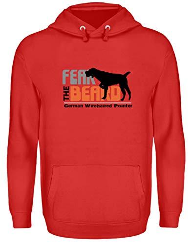 Générique Fear The Beard German Wirehaired Pointer - Chien, Portant pour chien, cultivateur, filament allemand - Sweat à capuche unisexe - Rouge - XXL