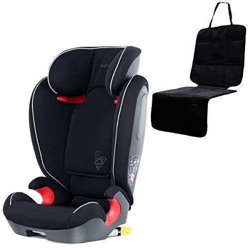 AVOVA Kinderautositz Star-Fix für Körpergrößen 100-150 cm + Autositzschutz | Gruppe 2/3 Pearl Black | made in Germany | Autokindersitz mit ISOFIX | Sicherheitsnorm UN ECE R-129 ab 4 Jahre 1101091+