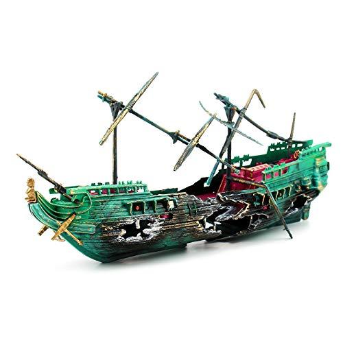 Dvirroi Shipwreck Action Aquarium Ornament, Sunken Galleon Ship Wreck Aquarium Decorations, Action Shipwreck Decoration for Fish Tank Accessories