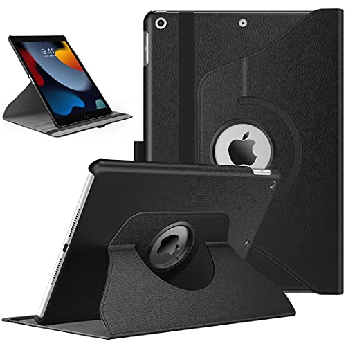 TiMOVO Hülle für Neu iPad 9. Gen 2021 / iPad 8. Gen 2020/7. Gen 2020 10,2 Zoll, 360 Grad Drehung Schutzhülle Drehbar Ständer Magnetisch für Auto Schlaf/Wach - Schwarz